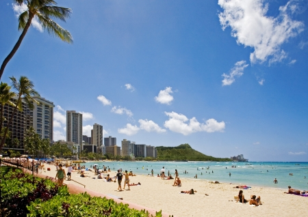 Waikiki Beach and Diamond Head Crater on the Hawaiian island of Oahu Stock Photo