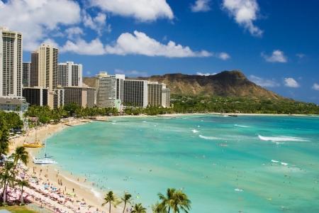 Waikiki Plaża i Diamond Head Krater na Hawajska wyspa Oahu Zdjęcie Seryjne