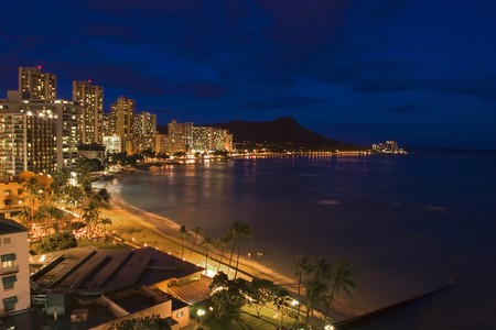 oahu: Waikiki Beach and Diamond Head at night Stock Photo