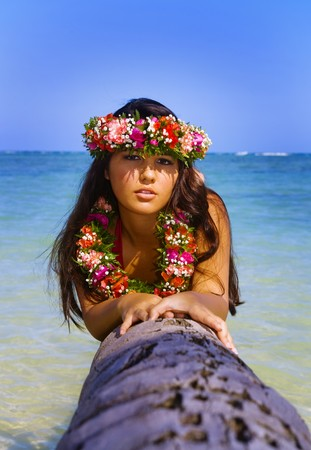 beautiful young polynesian girl in hawaii on a palm tree Stock Photo