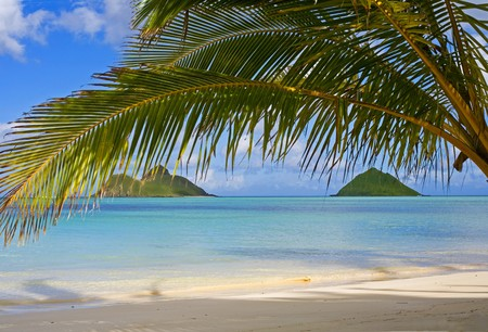 de mokulua eilanden langs lanikai strand, Oahu Stockfoto