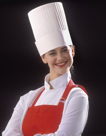 stovepipe: portrait of a female chef with stovepipe hat