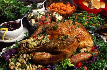 animal thanksgiving: thanksgivingchristmasholiday dinner Stock Photo