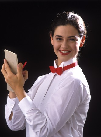 a cafe waitress ready to take your order Stock Photo - 4474984