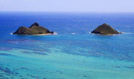 windward: The Mokulua Islands off the windward coast of Oahu, Hawaii