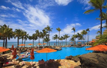 waikiki beach: Swimming pool on Waikiki beach, Hawaii