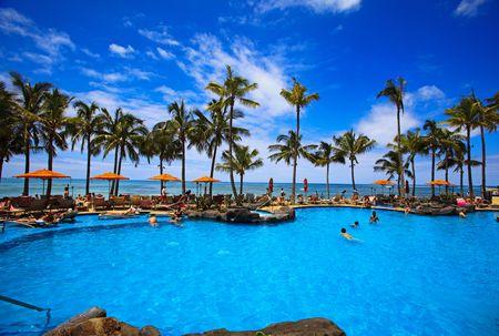 Basen na plaży Waikiki na Hawajach Zdjęcie Seryjne