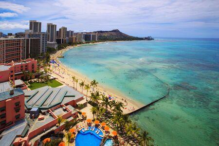 Waikiki Beach and Diamond Head Crater on the Hawaiian island of Oahu Stock Photo