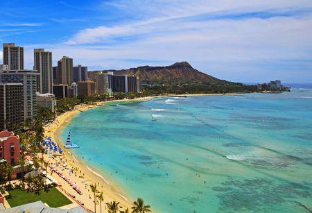 Waikiki Beach i Diamond Head Krater na Oahu Zdjęcie Seryjne