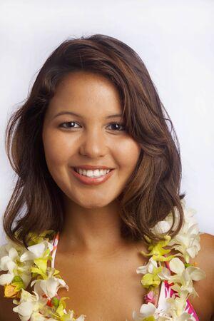 polynesian: portrait of a Hawaiian girl with flower lei