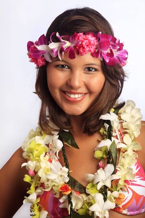 portrait of a Hawaiian girl with flower lei photo