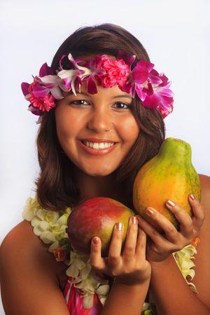 papaya flower: portrait of a Hawaiian girl with flower lei, a mango and a papaya