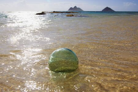 Glass float ball drifts to shore on a Pacific island