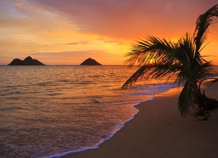 winter sunrise: Pacific sunrise at Lanikai beach in Hawaii