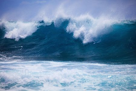 Storm surf surges against Oahu shore photo