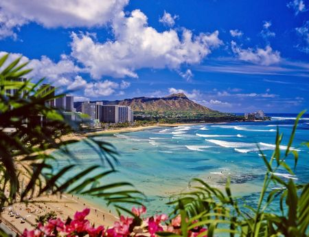 hawaii: waikiki beach and diamond head Stock Photo