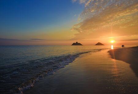 pacific sunrise at lanikai beach, hawaii photo