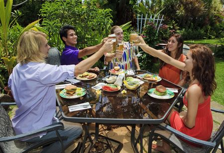 friends at a backyard bar-b-que in hawaii raising their glasses in a toast Standard-Bild