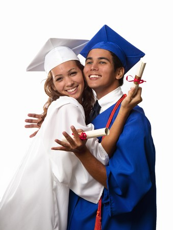 asian man and young woman in graduation wear holding their diplomas Stock Photo - 6988256