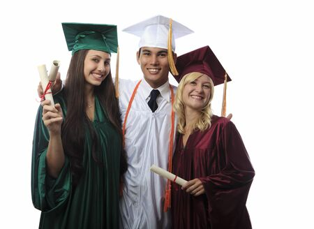 asian man and two women graduates in cap and gown photo