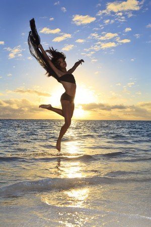 beautiful black female dancer leaping in air  Stock Photo