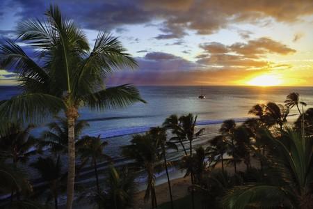 pacific sunset at kaanapali beach, maui, hawaii