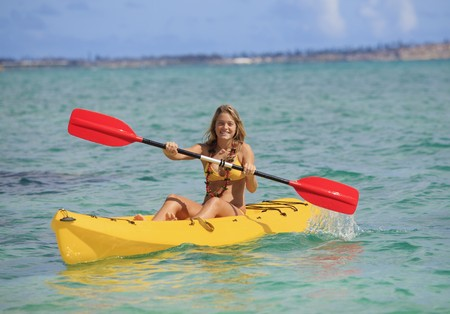 pretty teenage girl with her kayak Stock Photo