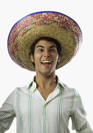 portrait of smiling Mexican man in sombrero Stock Photo