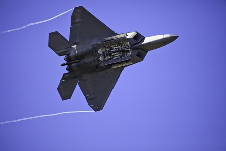 aircraft bomber: F-22 Raptort with bomb bay doors open Stock Photo
