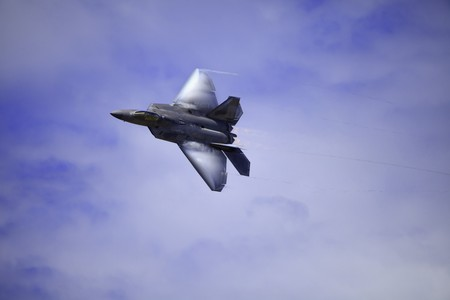 F-22 Raptor in flight over Hawaii Stock Photo