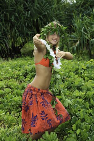 danced: hawaiian hula danced by a teenage girl in hawaii