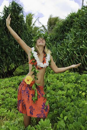 hawaiian hula danced by a teenage girl  photo