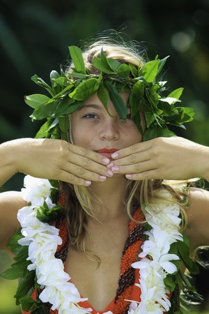 danced: hawaiian hula danced by a teenage girl