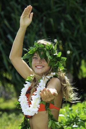 hawaiian hula danced by a teenage girl Stock Photo
