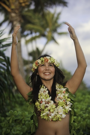 polynesisch: Portrait of a hawaiian Hula dancer