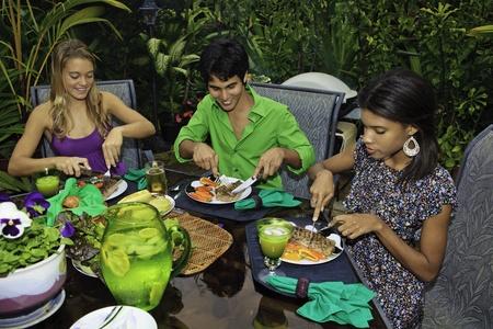 tres amigos en una fiesta de barbacoa en hawaii Foto de archivo - 8828306