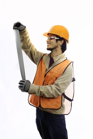 duct tape: asian workman in hardhat with duct tape