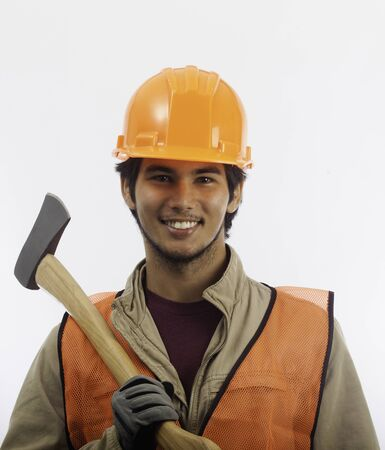 asian latino hard hat worker with an axe