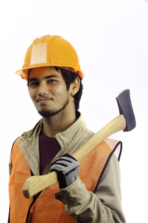 latino man: asian latino hard hat worker with an axe
