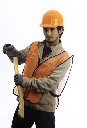 asian latino hard hat worker with an axe photo