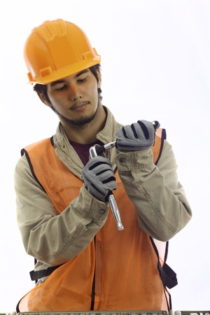 asian latino hard hat worker with his tools Imagens