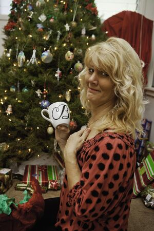 middle age woman at christmas photo