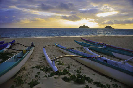 outrigger: outrigger canoes on the beach in hawaii