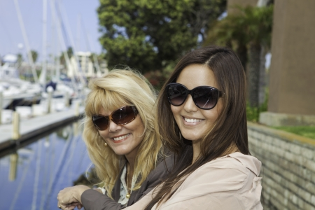 mother and daughter portrait in a  harbor Stock Photo - 14025134
