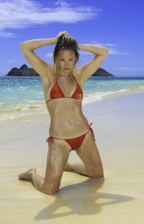 beautiful blond in bikini on the beach in Hawaii photo
