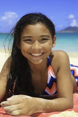 polynesian: pretty polynesian girl at the beach