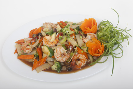 dinne: salad of shrimp and vegetables Stock Photo