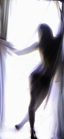 beautiful blond woman silhouette