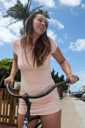 girl on her bicycle in san diego