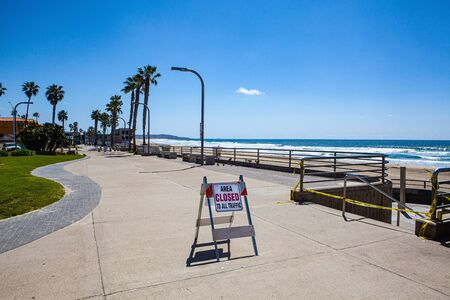 empty boardwalk in San Diego during coronavirus quarantine